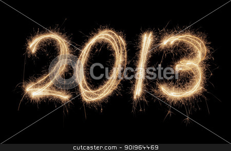 Happy New Year 2013 stock photo, Number 2013 written with real sparklers on black background. by Stocksnapper