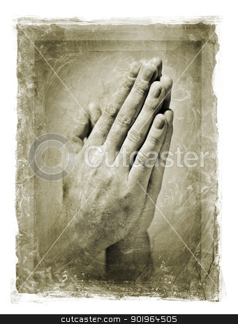 Prayer stock photo, Grainy and stained image of hands clasped in a prayer. by Stocksnapper