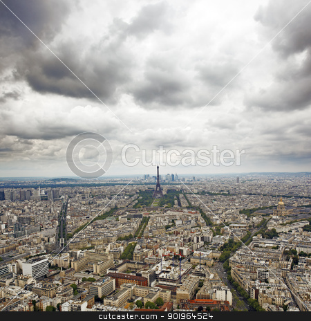 Paris stock photo, A Cloudy view from Paris, France. by Stocksnapper