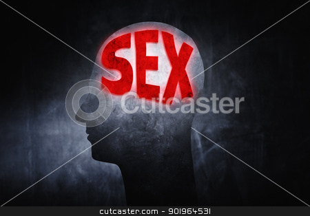 Thinking about Sex stock photo, Word 