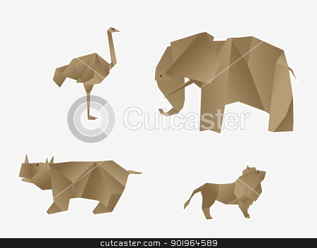 Wild animals origami stock vector clipart, Origami like wild animals set by Richard Laschon