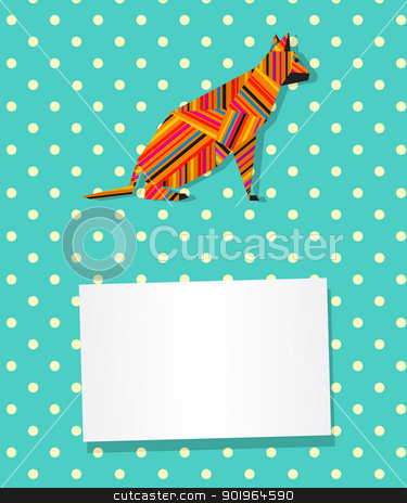 Cat card stock vector clipart, Decorative text card/invitation with collage cat in stripes by Richard Laschon