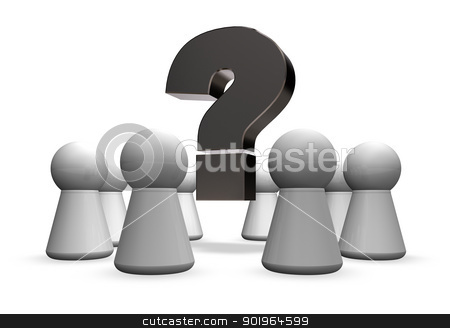 meeting stock photo, circle of play figures and question mark - 3d illustration by J?