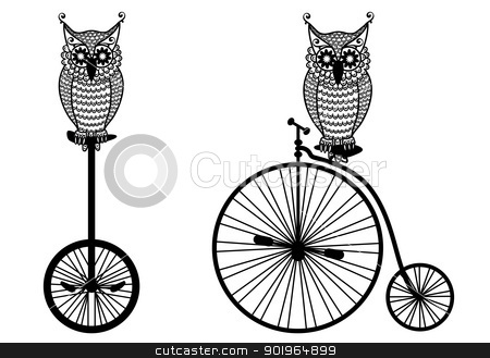 owls with old bicycle, vector  stock vector clipart, owls with vintage bicycle, vector illustration by Beata Kraus