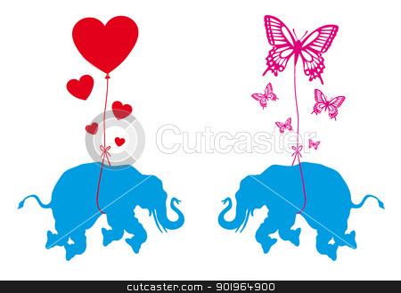 elephant with hearts and butterflies, vector stock vector clipart, blue elephant with red hearts and butterflies, vector illustration by Beata Kraus