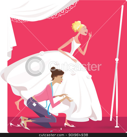 Bride fitting a dress stock vector clipart, Vector illustration of a bride fitting a dress, dressmaker helps her by Vanda Grigorovic