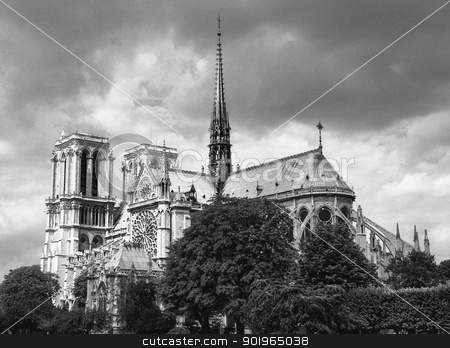 Notre Dame , Paris, FranceNotre Dame , Paris, France stock photo, Atmospheric black and white image against clouds of Notre Dame Cathedral, Paris, France showing the flying buttress structures on the building exteriorAtmospheric black and white image against clouds of Notre Dame Cathedral, Paris, France showing the flying buttress structures on the building exterior by pcooklin