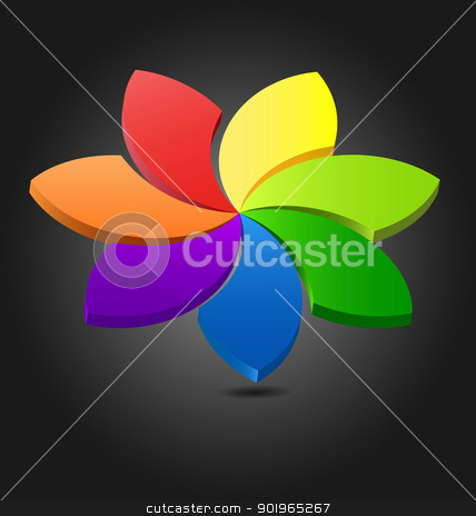 3D flower chromatic wheel  stock vector clipart, Design of a 3D flower color wheel for multipurpose use by Vladimir Repka