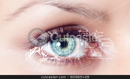 Digital eye stock photo, Eye viewing digital information represented by circles and signs by Sergey Nivens