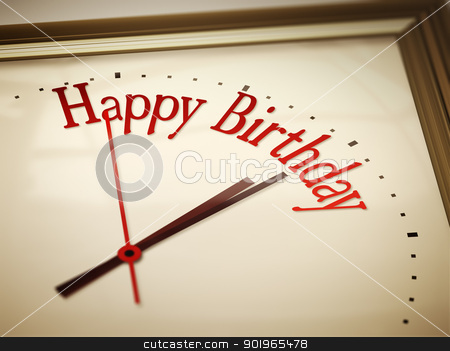 Happy Birthday stock photo, An image of a nice clock with Happy Birthday by Markus Gann