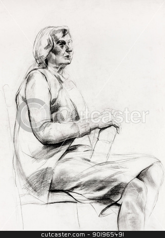 Woman sitting sketch stock photo,  Original pastel  or drawing charcoal, and  hand drawn painting or  working  sketch of a woman sitting in a chair.Free composition by borojoint