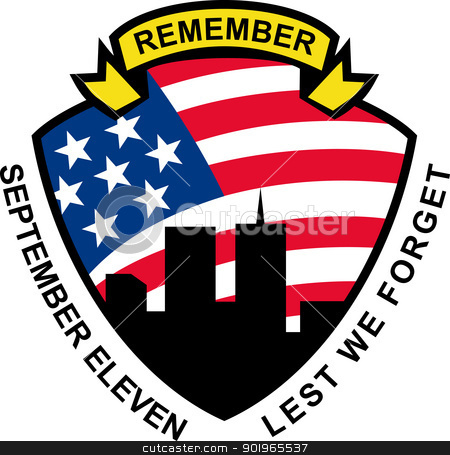american flag stars and stripes and 9-11 World Trade Center  stock photo, illustration of a shield with american flag stars and stripes and 9-11 World Trade Center building silhouette with words September eleven lest we forget by patrimonio