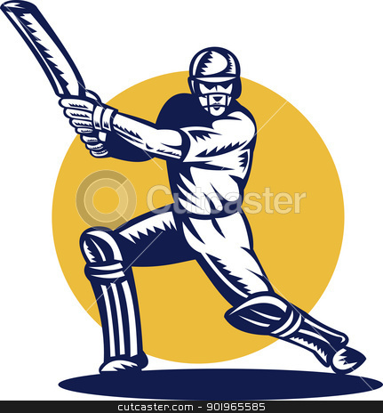 cricket batsman batting front view stock photo, retor style illustration of a cricket sports batsman batting front view done in retro style by patrimonio