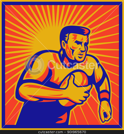 rugby player running with ball stock photo, illustration of a rugby player running with ball with sunburst in background done in retro woodcut style by patrimonio