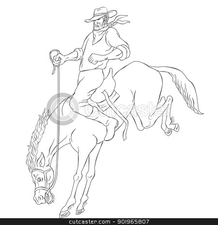 rodeo cowboy riding bucking horse bronco stock photo, illustration of rodeo cowboy riding bucking horse bronco on isolated white background done in black and white cartoon style by patrimonio