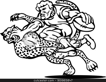 rugby player running with the ball tackle  stock photo, illustration of a rugby player running with the ball tackle attacked by a cheetah on isolated background done in black and white by patrimonio