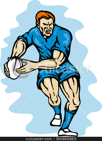 rugby player running passing the ball stock photo, illustration of a rugby player running passing the ball on isolated background  by patrimonio