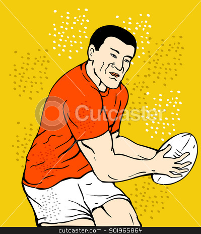 rugby player running passing the ball stock photo, illustration of a rugby player running passing the ball done in sketch style by patrimonio