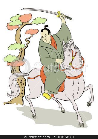 Samurai warrior with katana sword fighting stance stock photo,  illustration of a Samurai warrior on horseback with katana sword in fighting stance done in Japanese wood block print cartoon style by patrimonio