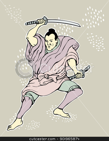 Samurai warrior with katana sword  stock photo,  illustration of a Samurai warrior with katana sword in fighting stance done in cartoon style by patrimonio