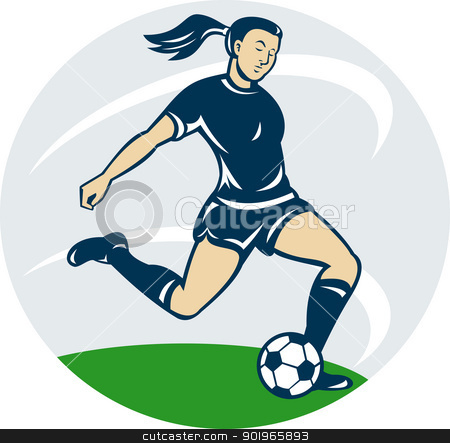woman girl playing soccer kicking the ball stock photo, illustration of a woman girl playing soccer kicking the ball cartoon style by patrimonio