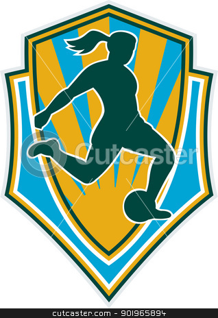 woman girl playing soccer kicking the ball stock photo, illustration of a woman girl playing soccer kicking the ball set inside shield by patrimonio