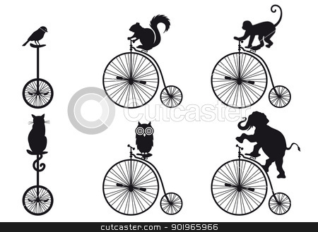 retro bicycle with animals, vector set stock vector clipart, vintage bicycle with animals, vector set by Beata Kraus