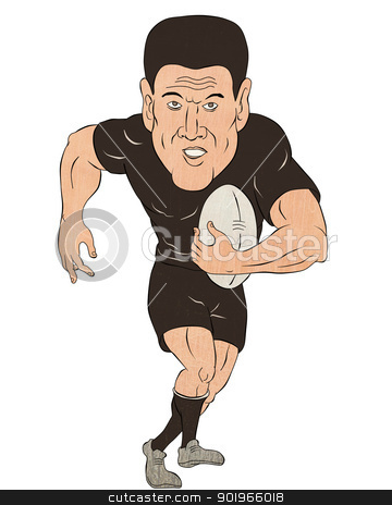 Rugby player running with ball stock photo, cartoon illustration of a Rugby player running with ball  isolated on white background by patrimonio