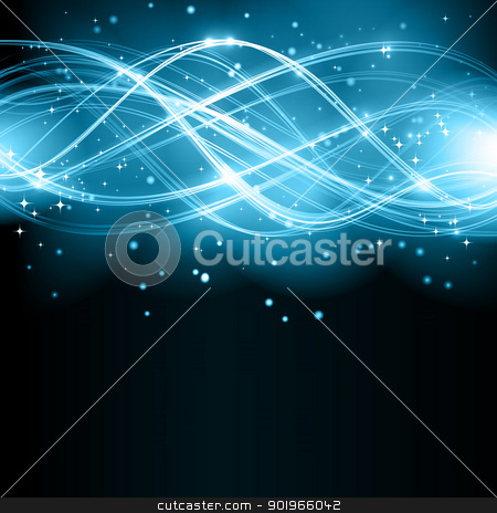 Abstract wave pattern with stars stock vector clipart, Overlaying semitransparent curved lines forming an abstract wavy pattern with light effects on a dark background. With stars and space for your text. EPS10 by Ina Wendrock