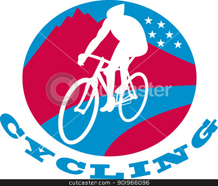 Cyclist riding racing bike stock photo, illustration of a Cyclist riding racing bike set inside oval with road mountains and stars and words