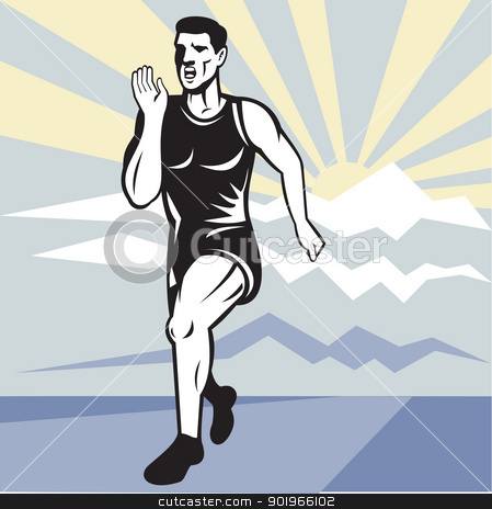Marathon runner jogger fitness running front stock photo, illustration of a illustration of a Marathon road runner jogger fitness training viewed from front set inside square with mountain and sunburst in background done in retro style. by patrimonio
