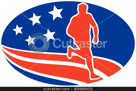 American Marathon runner stars stripes stock photo, illustration of a illustration of a Marathon road runner jogger fitness training road running with American stars and stripes in background inside oval by patrimonio