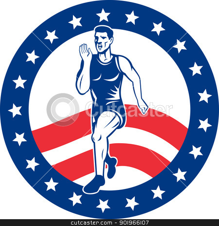 American Marathon runner stars stripes stock photo, illustration of a illustration of a Marathon road runner jogger fitness training road running with American stars and stripes in background inside circle by patrimonio