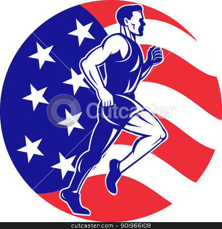 American Marathon runner stars stripes flag stock photo, illustration of a illustration of a male Marathon road runner jogger fitness training road running with American flag stars and stripes in background inside circle by patrimonio