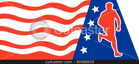 American Marathon runner stars stripes stock photo, illustration of a illustration of a Marathon road runner jogger fitness training running with American stars and stripes in background. by patrimonio