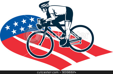 Cyclist riding racing bike star and stripes flag stock photo, illustration of a Cyclist riding racing bike set inside oval viewed from side done in with star and stripes by patrimonio