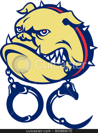 Angry bulldog dog head handcuffs stock photo, illustration of an Angry bulldog dog head with handcuffs on isolated white background done in cartoon style  by patrimonio