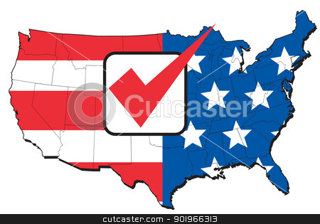 American election map of USA stock photo, illustration of map of United States of America with stars and stripes American flag and tick mark by patrimonio