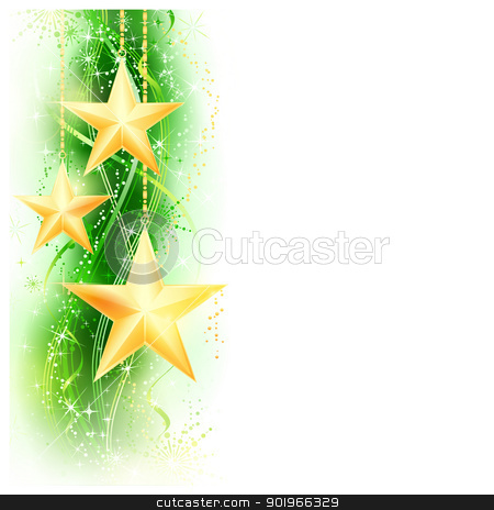 Green golden star border stock vector clipart, Border, frame with golden stars hanging over a green wavy pattern embellished with stars and snow flakes. Bright, vivid and festive for the season to come with space for your message. EPS10 by Ina Wendrock