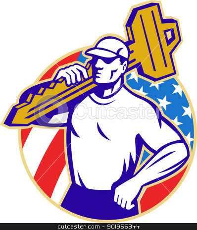 Locksmith Holding Key With American Flag stock photo, Illustration of a locksmith holding a key facing front with American stars and stripes flag in background set inside a circle done in retro style.  by patrimonio