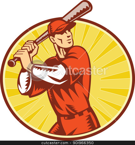 Baseball Player With Bat Batting Retro Style stock photo, illustration of a baseball player batting set inside circle with sunburst done in retro woodcut style.  by patrimonio