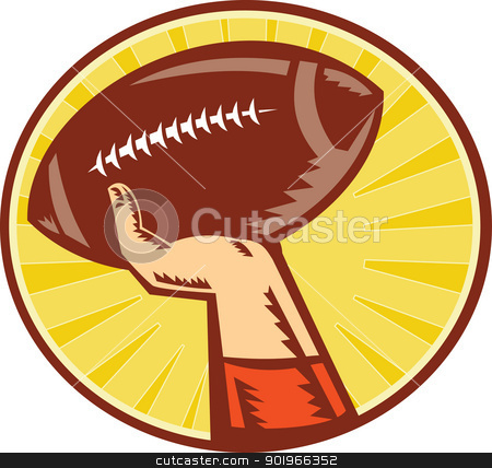 American Football Player Hand Catching Throwing Ball stock photo, Illustration of a hand catching ,throwing American Football ball done in retro woodcut style set inside circle with sunburst in background.
