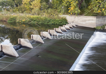river diversion dam stock photo, small dam diverting water for farmland irrigation - Cache la Poudre River above Greeley in northern Colorado by Marek Uliasz