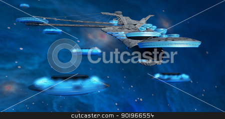 Blue Nebula Expanse stock photo, Flying saucers come back to a spaceport near a blue nebula in space. by Corey Ford