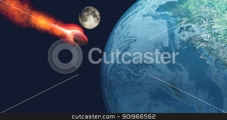 Earth hit by Asteroid stock photo, The Earth is about to be hit by an unknown white hot asteroid. by Corey Ford