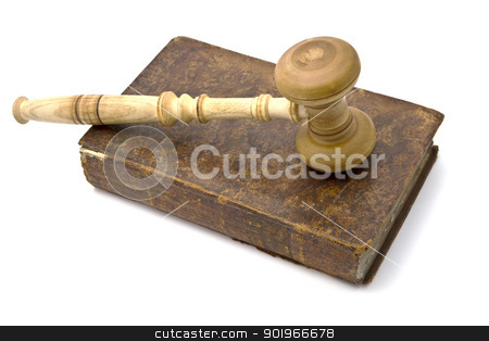 Old book and gavel stock photo, Old book and gavel isolated on white background   by Ingvar Bjork