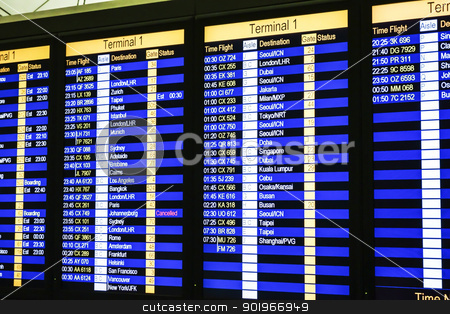 Departure Board stock photo, Hong kong airport, departure board  by Ingvar Bjork