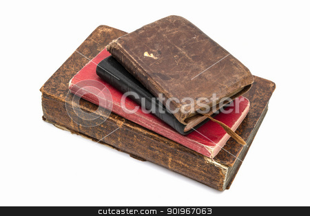 Old books stock photo, Old books isolated on white background by Ingvar Bjork