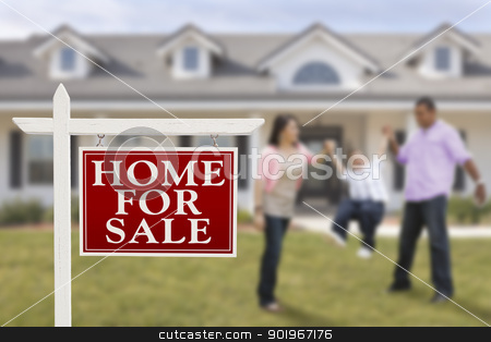 Real Estate Sign and Hispanic Family in Front of House stock photo, Home For Sale Real Estate Sign and Playful Hispanic Family in Front of House. by Andy Dean