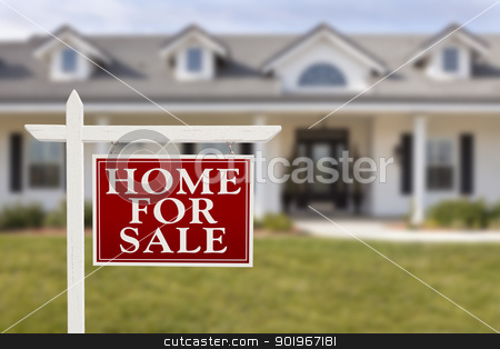 Home For Sale Real Estate Sign in Front of New House  stock photo, Home For Sale Real Estate Sign in Front of Beautiful New House. by Andy Dean